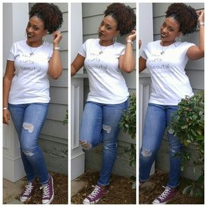 """💎NEW """"Hey Curly Beauty..."""" White Soft Tee"""